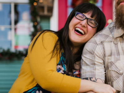 A colorful Old Town Spring engagement session in Houston, Texas