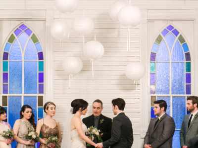 An indoor winter wedding at Mercury Hall in Austin, Texas